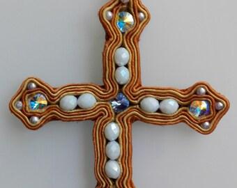 """Cross Krzyż cross """"Rasputin"""" Soutache Sutasz man Męczyzna man woman Kobieta woman white Biały white blue Niebieski blue Brown Brązowy Brown"""