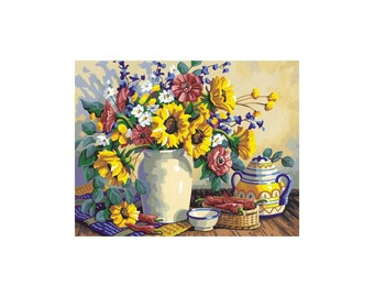 "Paint By Number Kit 14""X11""-Sunflower Still Life"