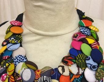 Patch button necklace