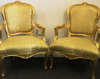 Antique French Style Furniture - PAIR OF CHAIRS - Mahogany Gold Leaf - C317