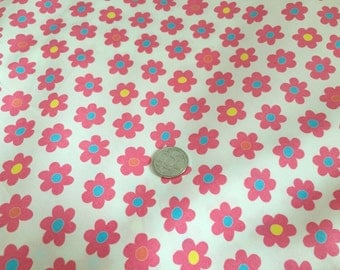 Pink Daisy on White 100% Cotton Fabric
