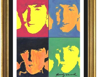 "Limited Edition Lithograph Print after Andy Warhol ""The Beatles"" Plate-Signed & Pencil Numbered (unframed)"