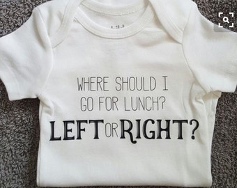 Breast feeding onesie! Where should i go for lunch? Left or right? Size newborn -4t!!