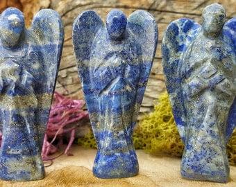 Lapis Lazuli Crystal Angel - Hand Carved figurine Guardian Gem Stone for Crystal Grids or Terrarium 279