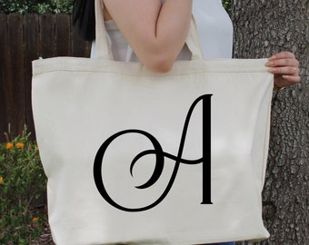 Monogram Personlized Alphabet Initial Letter A-Z ~  Large Canvas Tote Beach/Grocery BAG