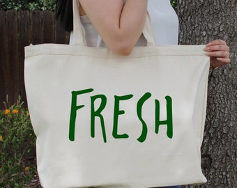 FRESH~ Large Canvas Tote Beach/Grocery BAG