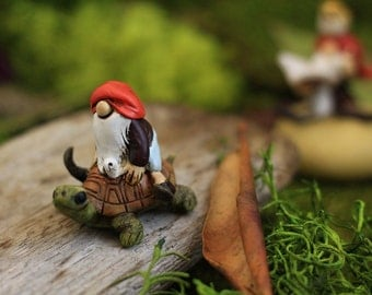 Miniature Dollhouse FAIRY GARDEN ~ Gnome on a Turtle  ~ NEW