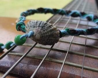 Sea Inspired Blue and Green Hemp Seashell Bracelet