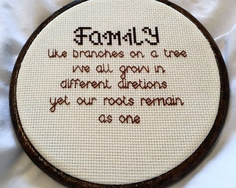 Family Cross Stitch, Hanging Wall Art, Perfecf Gift for Parents.