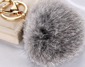 8 cm Grey Fur Pom Pom Key Chain
