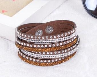 Crystal Swarovski Elements Leather Strap Bracelet Brown