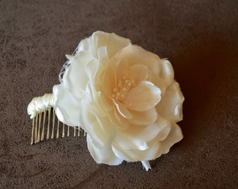 Beautiful Ivory Flower & French Netting Hair Comb