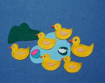 Five Little Ducks/Flannel board story/Felt figures set: Five Little Ducks/Felt board story/Flannel board set