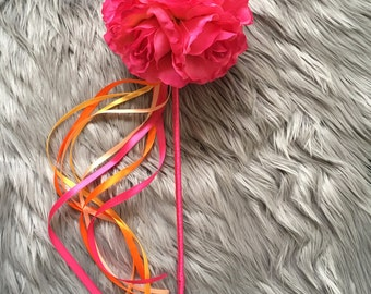 Hot Pink& Coral Flower Girl Wand / Wedding Accessory / Fairy Wand / Silk / Faux Flower Wand / Fake Flowers / Junior Bridesmaid / Rose Ball