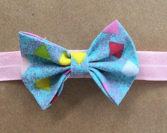 Blue Bow with Headband