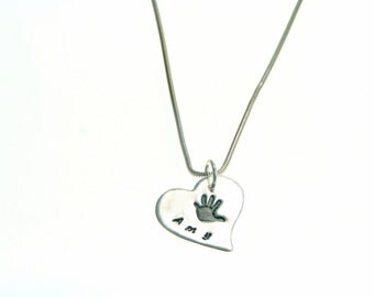 Handprint or footprint necklace