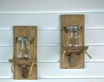 Reclaimed Wood -- Mason Jar Candle Holder Pair