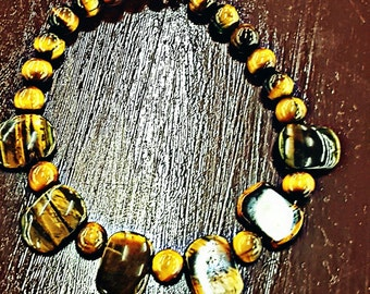 Custom Tiger eye stoned beaded anklet