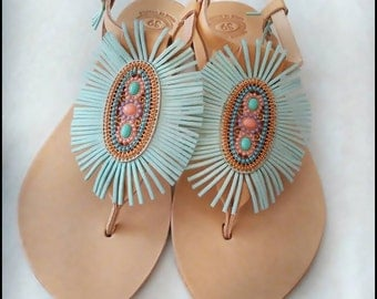 turquoise dream. Women's Shoes , leather, Flip Flops