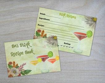 Printable Bar Drink Recipe Cards
