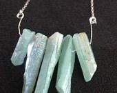 Aqua Aura Quartz Necklace // Quartz Necklace//  Gemstone Necklace // Wail Song