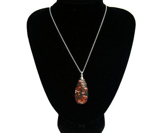 Leopardskin Jasper Pendant and Silver Chain