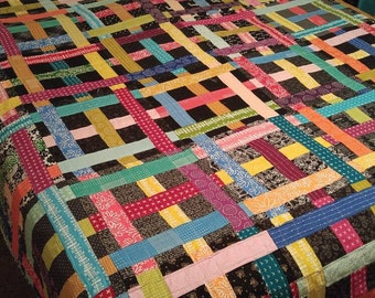 Vibrant, Modern Bed Quilt in Blueberry Park