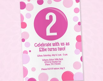 Pink Bubble Themed Invitation - EDITABLE PDF - 5x7 - Printable