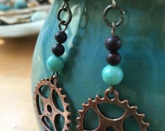 Handmade, Boho, Beach, Industrial, Steampunk, Bronze, Copper, Gear, Charm, Turquoise, Glass Bead, Dangle, Drop, Earrings