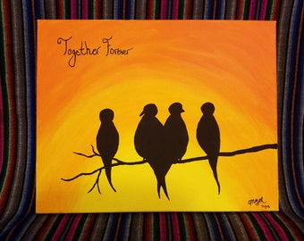 Blackbirds in the sunset