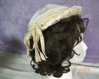 Vintage Girl's Hat Modern Miss Off White Straw with Beige Velvet Ribbon Trim Bling/Lace Trim Brim