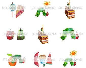 The Very Hungry Caterpillar - 1 inch circle images, bottlecap, cupcake topper - INSTANT DOWNLOAD