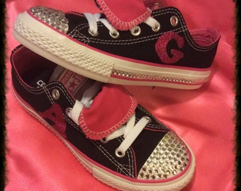Jeweled converse, custom shoes, birthday shoes. Child shoes, girls shoes