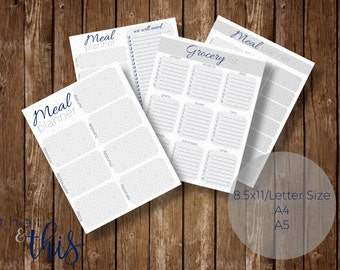 Navy & Grey Meal Planning Bundle - 4 Options! + A4, A5, Letter Size