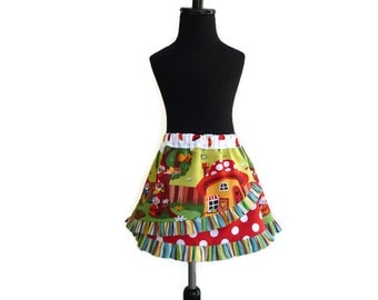 Layered skirt, apron skirt, ruffle skirt , Gnomesville skirt