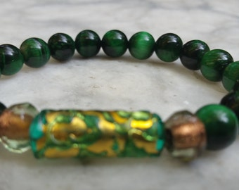 green bracelet, womens bracelet, beaded bracelet, gold