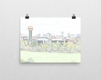 Knoxville Skyline Sketch Print