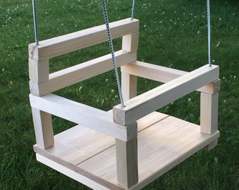 Wooden swing for toddlers