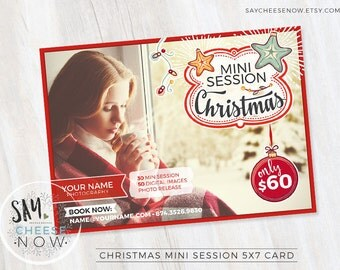 Christmas Mini Session Template - Christmas Photography Marketing - Photoshop template - INSTANT DOWNLOAD