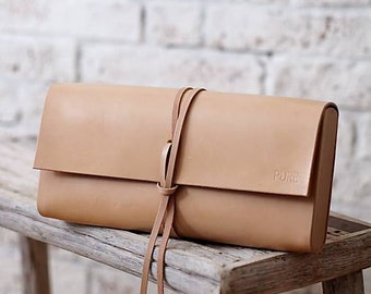 Leather clutch NATURAL MINI