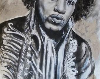 Original Jimi Hendrix watercolor painting.Jimi Hendrix painting,famous people painting,famous people portrait,famous people