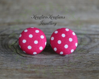 19mm Pink & White Polka Dots Fabric Button Stud Earrings