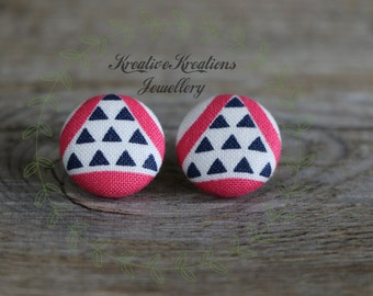 19mm Pink, White & Blue Triangles Fabric Button Stud Earrings