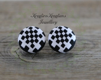 19mm Black & White Checkered Fabric Button Stud Earrings