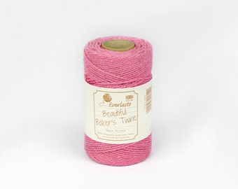 Baker's Twine - Solid Pink - 100m Spool 100% cotton twine Made in the UK by Everlasto
