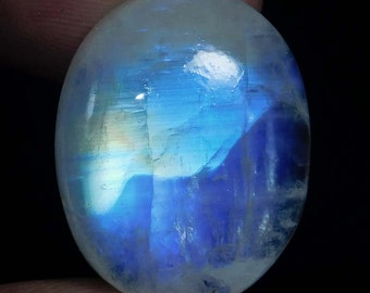 26.5Cts Natural Blue fair rainbow moonstone Loose Cabochons oval shape size 23X18X8 mm best gemstones