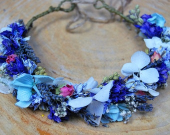 Flower crown with preserved and dried flowers, Wedding flower crown, floral crown, Rustic flower crown, natural flower crown, lavender crown