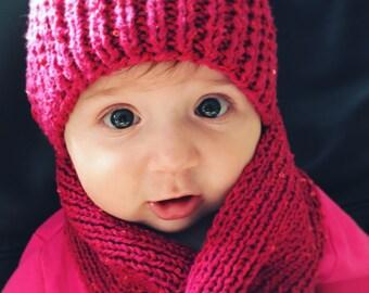 Glamuor Baby Girl Raspberry Knitted Hat & Scarf