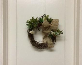 Sale! - All Year Round Wreath – Succulent Wreath – Burlap Bow Wreath