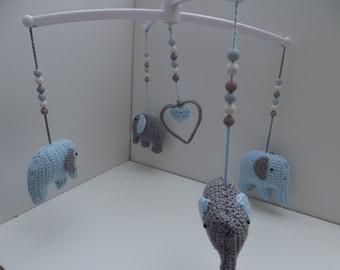 Music mobile elephant blue/grey